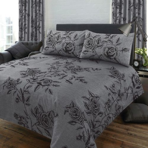 MODERN LARGE ROSE LEAVES FLORAL GREY CHARCOAL SLATE COLOUR BEDDING OR CURTAINS